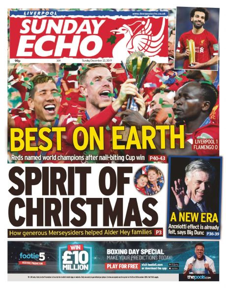 Champions of The World - Liverpool Sunday Echo 22nd December 2019